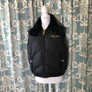 Baby Phat Quilted Vest With Faux Fur Collar